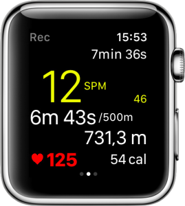 A workout with RowingCoach on the Apple Watch