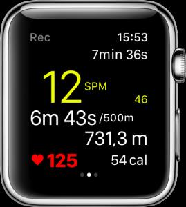 Ein Training mit RowingCoach auf der Apple Watch