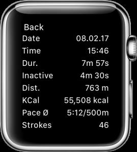 Detailansicht eines aufgezeichneten Trainings auf der Apple Watch.