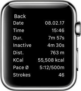 Detailed view of a recorded workout on the Apple Watch.