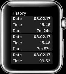 Übersicht aufgezeichneter Trainings mit der Apple Watch.