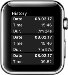 Overview of recorded workouts on the Apple Watch.