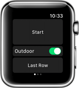 The start screen of RowingCoach on the Apple Watch