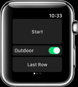 Der Startschirm von RowingCoach auf der Apple Watch