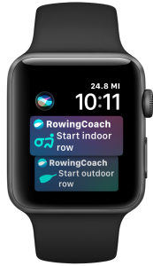 Siri Suggestions for RowingCoach on the Apple Watch